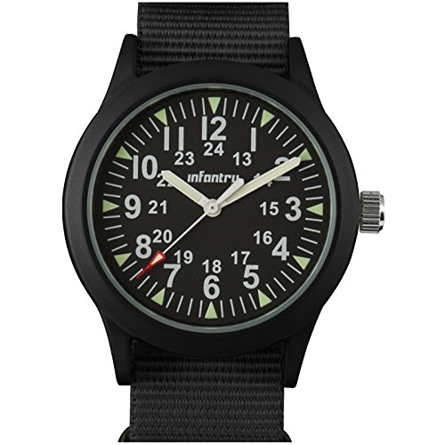 Infantry Mens Army Military Field Analog Watch Outdoor Tactical Wrist Watches for Men Casual Work Wristwatch Imported Japanese Quartz Movement with Black NATO Strap