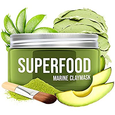 100% VEGAN Dead Sea Mud Mask with Avocado & Superfoods - 120ml/4 Oz Organic Face Mask for Acne - Dermatologically Tested Hydrating Clay Mask - Blackhead Remover - Deep Pore Cleanser and Minimizer