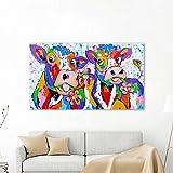 N / A Pintura sin Marco Mural sobre Lienzo de Vacas Animales y Flores decoración del hogar ZGQ7099 20x35cm