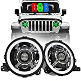 BICYACO 9 Inch RGB LED Headlights Compatible with 2018 2019 Jeep Wrangler JL Gladiator SUV Headlamps Replacement with Daytime Running Lights High Low Beam Adjustable