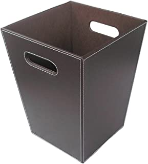 KINGFOM Classic Leather Trash Cans Waste Paper Basket, Storage Bin for Bathroom, Kitchen, Office and High Class Hotel