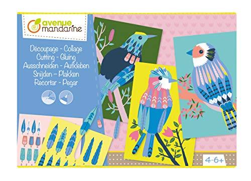Avenue Mandarine KC078C - Kreativset, mit 5 Karten DIN A5, 4 Bogen zum Ausschneiden und/oder Aufkleben DIN A5 und Kleber, 1 Set, Vögel
