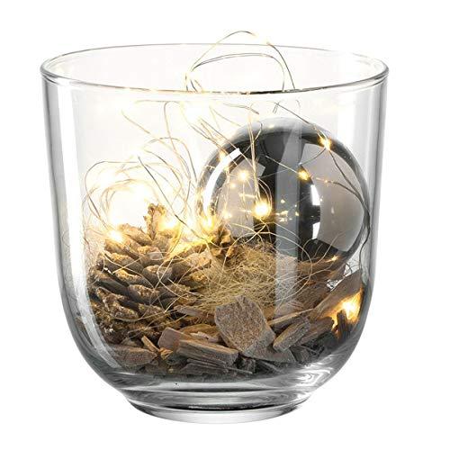 LEONARDO - Windlicht mit weihnachtlicher Dekoration - Silber, Glas - incl. Dekomaterial - Größe (ØxHT): 16 x 16,4 cm