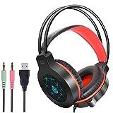 TAOXUE Auriculares Gaming con Microfono, Cascos Gaming, Auriculares para Juegos para PS4 / PC/Switch/Tableta/Celular, Headset Estereofónico con LED Luces, Micrófono Antiruido,Naranja