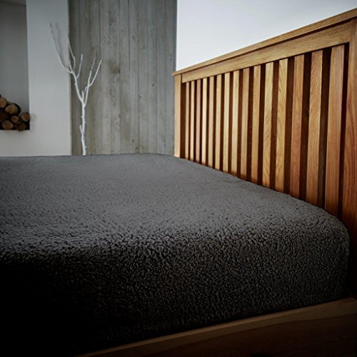 CT New Teddy Sherpa Fleece Luxurious Fitted Sheets Super Soft Warm Cosy Teddy Bear Fleece Fitted Bed Sheets (Charcoal, Single Size Fitted Sheet)