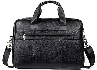 FYXKGLan Men's Geniune Leather Leisure Business Briefcase Cross- Section Men's Handbag (Color : Black)