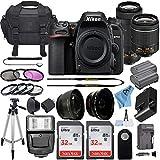 Nikon D7500 20.9MP DSLR Digital Camera w/AF-P DX NIKKOR 18-55mm f/3.5-5.6G VR Lens & AF-P DX 70-300mm f/4.5-6.3G ED Lens + 2 Pcs SanDisk 32GB Memory Card + Accessory Bundle (Black)