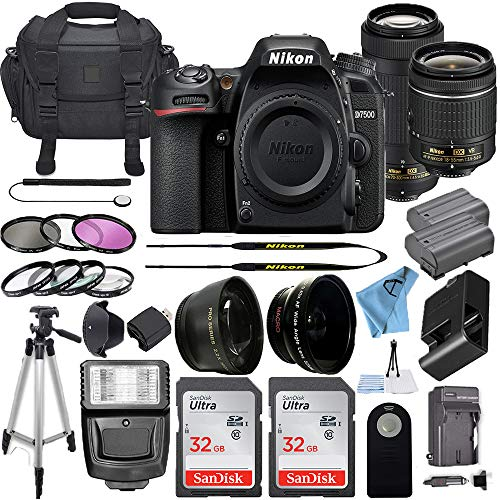 Nikon D7500 20.9MP DSLR Digital Camera w/AF-P DX NIKKOR 18-55mm f/3.5-5.6G VR Lens & AF-P DX 70-300mm f/4.5-6.3G ED Lens + 2 Pcs SanDisk 32GB Memory Card + Accessory Bundle (Black)