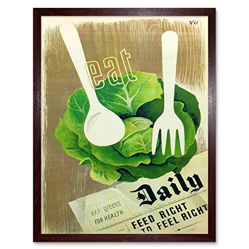 Wee Blauwe Coo Gezondheid Voedsel Groenten Oorlog Tweede Wereldoorlog Vintage Reclame Art Print Ingelijste Poster Muurdecoratie 12X16 Inch
