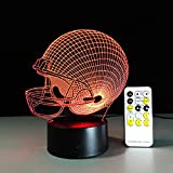 Dengjiam Alle Teams Fußball Rugby Hut Fernbedienung Lampe Bunte Acryl Touch Runde Visuelle Stereo 3D Nachtlicht Für Fußball Fan Geschenk