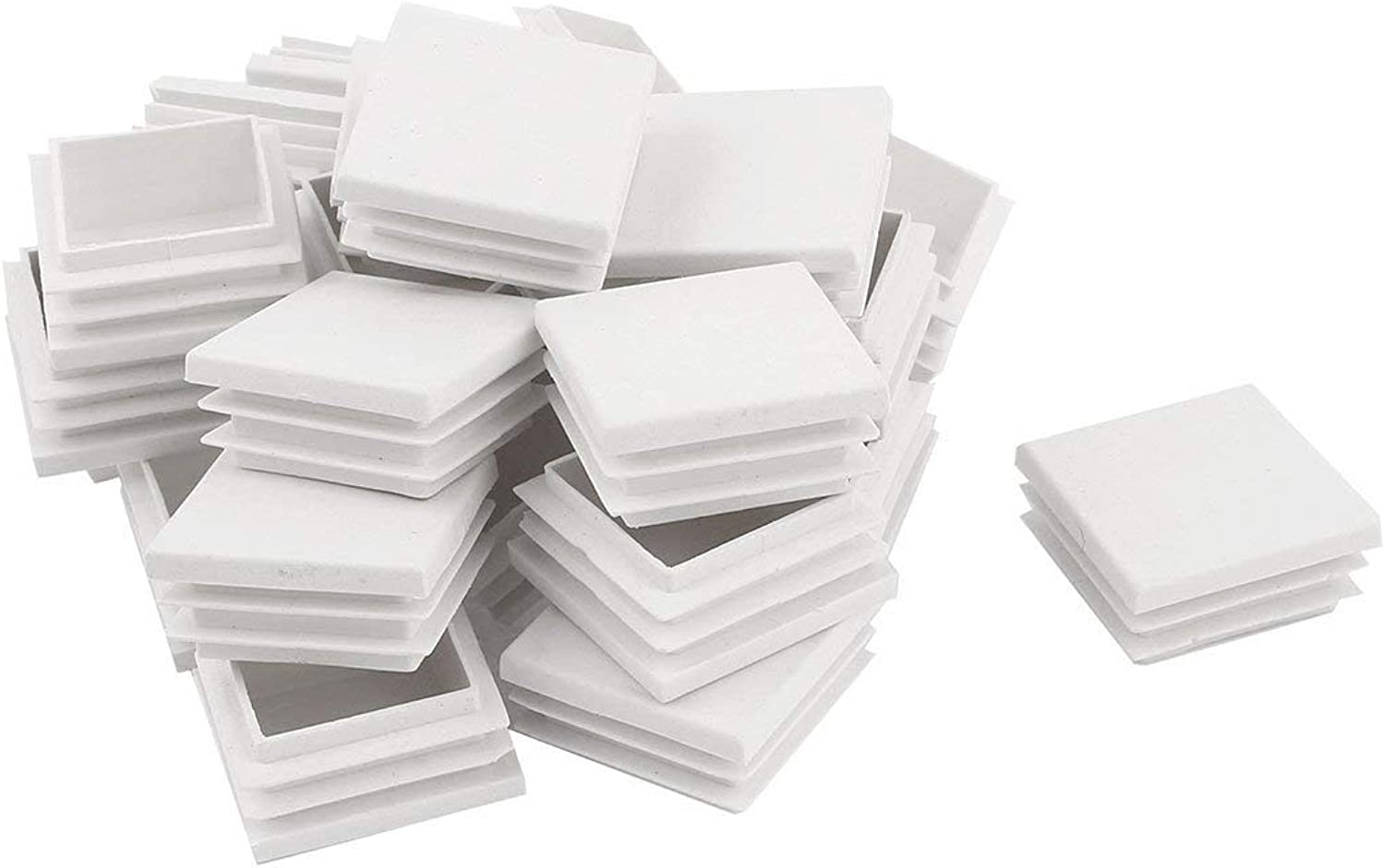 40mm x 40mm Square Plastic Table Foot Holder Predector White 24 Pcs