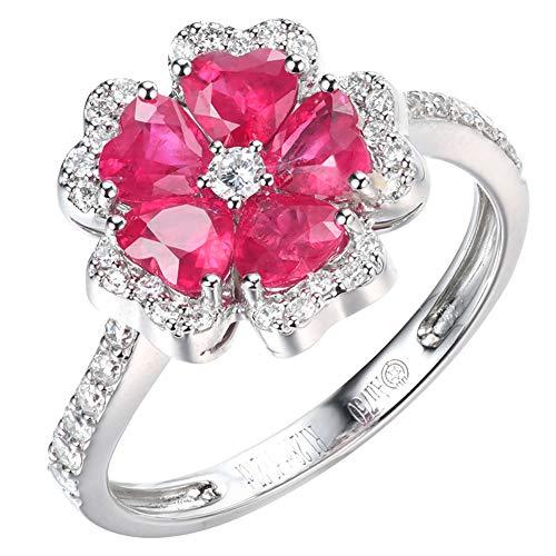 18 Karat Weißgold Echter Rubin & White Diamond Bridal 5 Stein Verlobungsring,22(19.5mm)