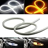 iJDMTOY Xenon White/Amber Yellow Switchback LED Tube Strip Lights Compatible With Headlight Retrofit w/Even Lighting Illumination