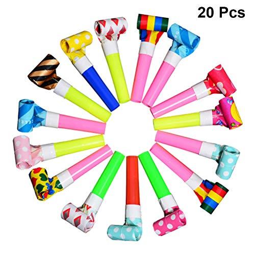 Toyvian Party Tröten Kindergeburtstag Party Spielzeug Geräuschhersteller Kinderparty Versorgungen (Zufallsmuster) 20pcs
