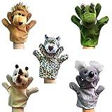 Happy Cherry - (Set de 5 Marionetas Juguetes Juegos de Manos Dedos de Animal Peluche para Bebés Niños niñas Cuentacuentos - León / Leopardo / Cocodrilo / Rinoceronte / Koala