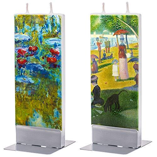 Flatyz Candele Decorative Particolari - Candele Regalo Donna Piatta Fatta a Mano Inodore - George Seurat Una Domenica pomeriggio Sull'Isola della Grande-Jatte, Claude Monet Ninfee - Set di 2