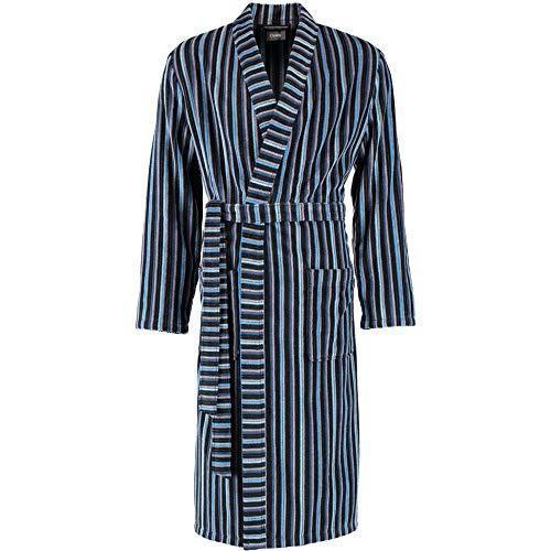 Cawö Home Bademantel Herren Kimono Streifen 6517 blau-anthrazit - 17 XL