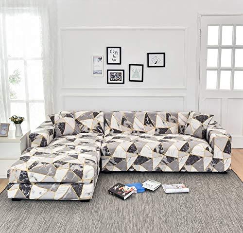 ASCV Fundas de sofá de Esquina para Sala de Estar Funda elástica elástica Sofá seccional Chaise Longue Funda de sofá en Forma de L A4 3 plazas