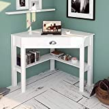 LATIPOPO Corner Desk with Drawer, Wood Compact Home Office Computer Desk, Corner Makeup Vanity Table Writing Study Desk with Storage Shelf,White