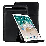 Jisoncase iPad Air 3 ケース ipad pro 10.5 ケース apple pencil収納付き レザー カバー スタンド機能付き ペンホルダーケース付き 三つ折り マグネット 傷つけ防止 耐摩擦 耐衝撃 防塵 全面保護 人気 おしゃれ 10.5インチ以下の機種を対応(ブラックAB-PRO-23M10)