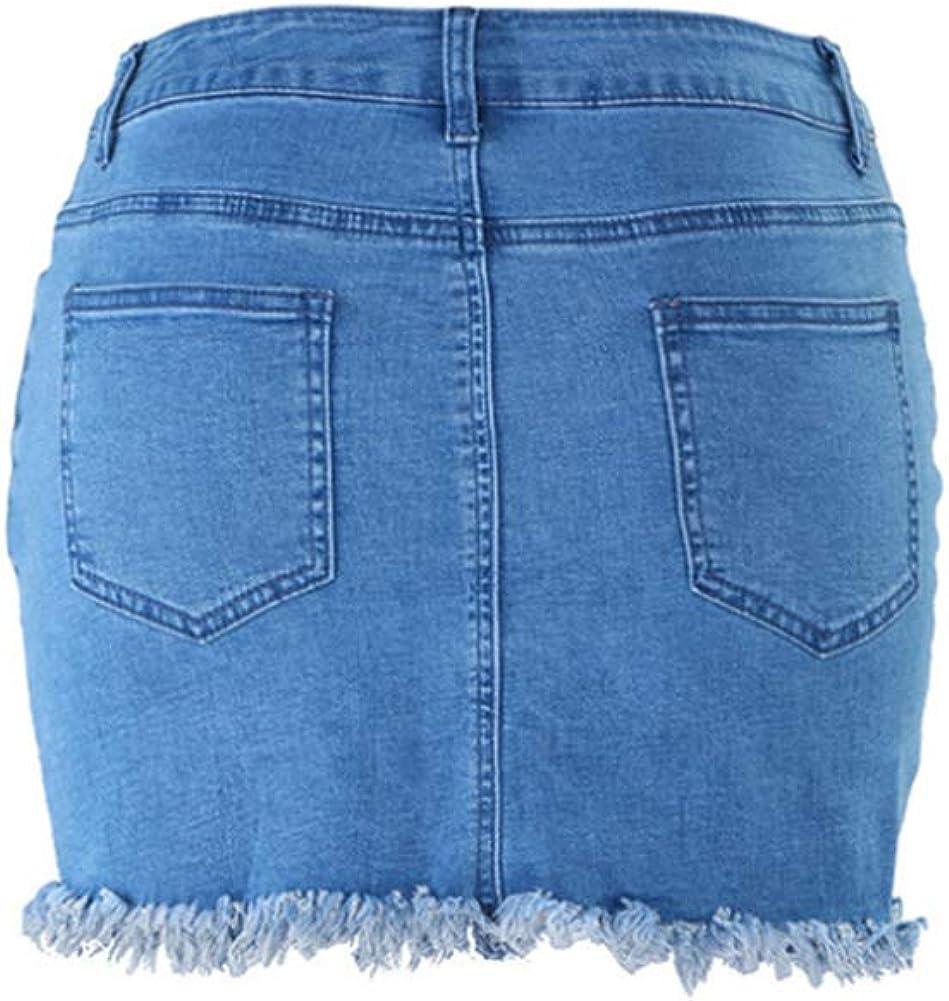 LoVnely Women High Waist Fringed Slim Fit Denim Mini Skirt Casual Frayed Hem Pencil Short Skirt