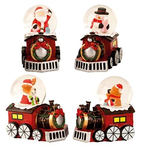 Geschenkestadl 4 Stück Schneekugel Lokomotive Weihnachten je Ø 4,5 cm 4 Motive Weihnachtsschneekugel