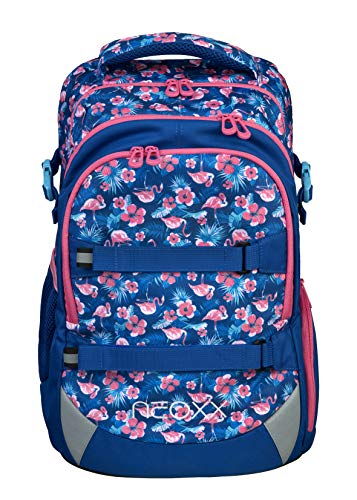 neoxx Active Schulrucksack Let's Flamingle - Rucksack für die weiterführende Schule, ergonomischer Schulranzen aus recycelten PET-Flaschen, Schultasche für Mädchen und Jungen