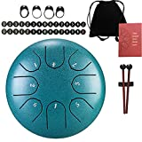 Steel Tongue Drum - 8 tones 6 Inches-Percussion Instrument - C-Key Handpan Drum with Bag, Mallets, Finger Picks, Notes Stickers for Personal Meditation, Yoga, Zen, Concert (Green)
