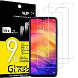 NEW'C, 3 pellicole protettive compatibili con Xiaomi Redmi Note 7, in vetro temperato, senza graffi, durezza 9H, pellicola protettiva HD, 0,33 mm, ultra trasparente, ultra resistente