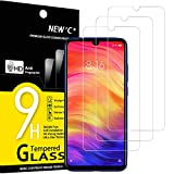 NEW'C 3 Unidades, Protector de Pantalla para Xiaomi Redmi Note 7, Redmi Note 7 Pro, Antiarañazos, Antihuellas, Sin Burbujas, Dureza 9H, 0.33 mm Ultra Transparente, Vidrio Templado Ultra Resistente