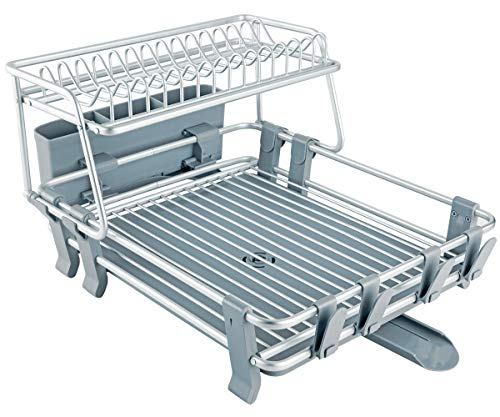 VENETIO Deluxe Aluminum Dish Drying Rack 2 Tiers with Removable Dish Drainer Tray 360° Swivel...