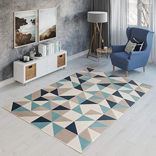 Tapiso® Alfombra Habitación De Jóvenes Salón Moderno – Diseño Geométrico Cuadrados Mosaico – Color Azúl Beige Marrón – Colección Canvas 140 x 200 cm