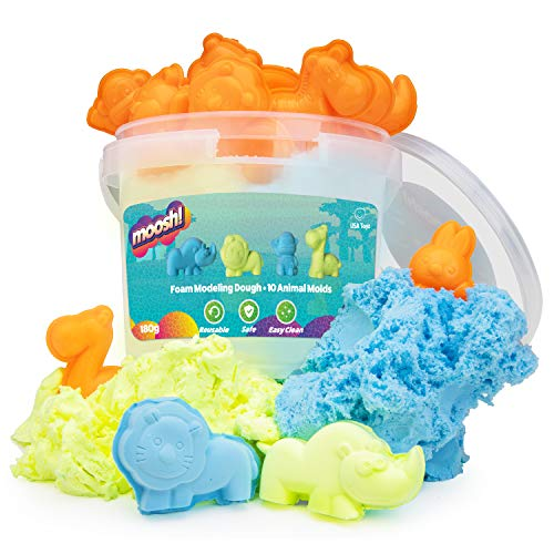USA Toyz Moosh Fluffy Modeling Clay - Soft Foam Non Drying Clay w/ 10 Animal Molds (Blue/Yellow)