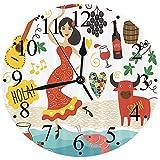 SCJ Reloj de Pared 12'Silencioso sin tictac, España, España Monumentos y símbolos Flamenco Barcelona Marisco español Europa Vacaciones Viajes Tema, Reloj de Pared Moderno Decorativo para Sala d