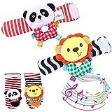 Twister.CK bébé Poignet hochet et hochets de Trouveur Chaussettes, 4 pièces de développement pour bébé Animaux Douces - Lion et Panda