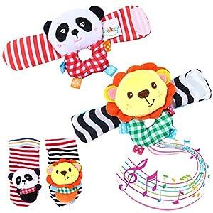 Twister.CK Juego de Calcetines de traqueteo para muñeca de bebé y sonajeros para pies, 4 Piezas de Juguetes para bebés de Animales Blandos para el Desarrollo - León y Panda