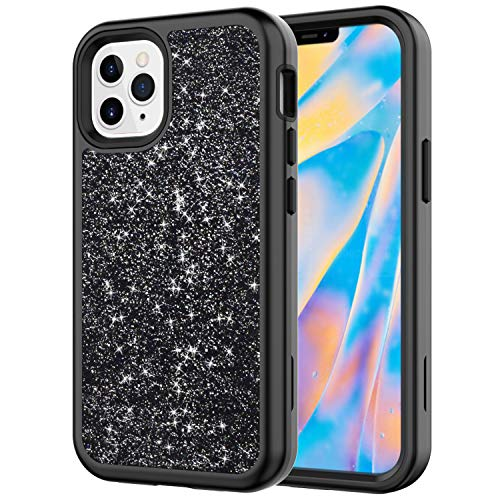 Case for iPhone 12 Pro Max 6.7', ZERMU 3in1 Luxury Glitter Sparkle Bling Designer Shining Fashion Style Hard Shell Hybrid Rubber Bumper Armor with Front Cover Case for iPhone 12 Pro Max 6.7' 2020