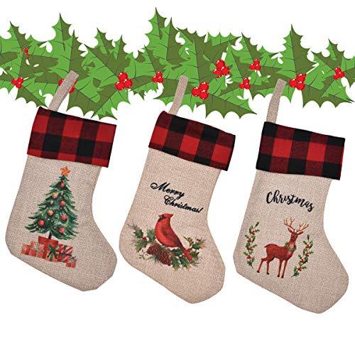 Zliger 3 Piezas Calcetín de Navidad Adorno de Navidad Bolsa de Dulces Calcetín de decoración navideña Medias de Navidad Calcetines Grande Chimenea Calcetines Saco de Navidad para Decoraciones Navidad