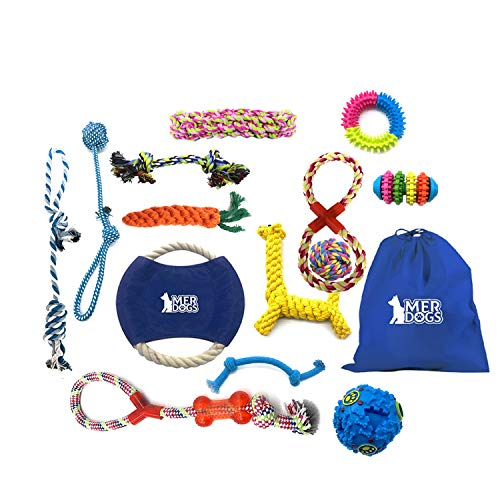 MERDOGS Super Chewer Dog Toy Bundle 15 Pieces Durable Puppy Teething Toys and Dog Rope Toys for Large Dogs and Aggressive chewers (Ring, Rubber Bone, Balls and Rope Toys) Free Toy Bag Included