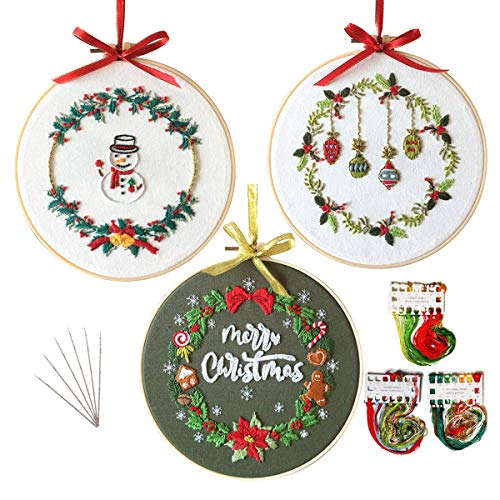 3 Sets Embroidery Starter Kit with Christmas Pattern,Cross Stitch Set for Beginners, Full Range of Stamped Embroidery Kits with 3 Embroidery Pattern, 1 Embroidery Hoop and Color Threads (Christmas2)
