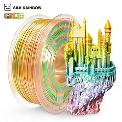 SUNLU Silk Rainbow PLA Filament 1.75mm Multicolor, Silky Rainbow 3D Drucker Filament PLA 1KG Spule, Color Gradient