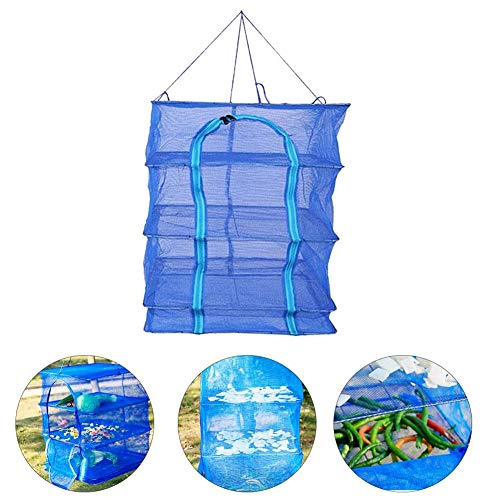 ZLRE 4 Layer Vegetables Hanging Layers Dry Net Foldable Mesh Herb Drying Rack Dry Net with Zippers