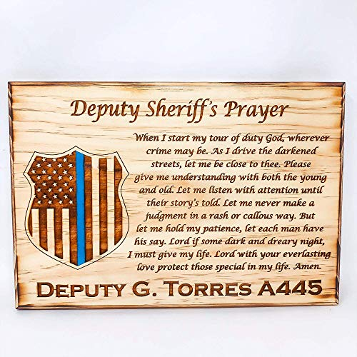 Personalized Deputy Sheriff's Prayer Plaque | Laser Engraved Wood | Police Badge | Thin Blue Line