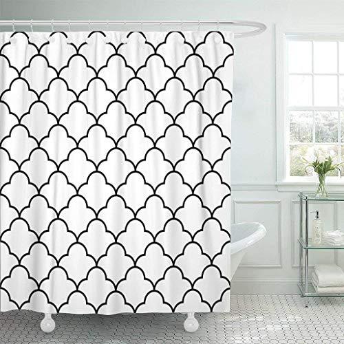 AIDEMEI Geo Black White Arabic Traditional Geometric Quatrefoil Lattice Trellis Ethnic Waterproof Shower Curtain Curtains 180X180Cm