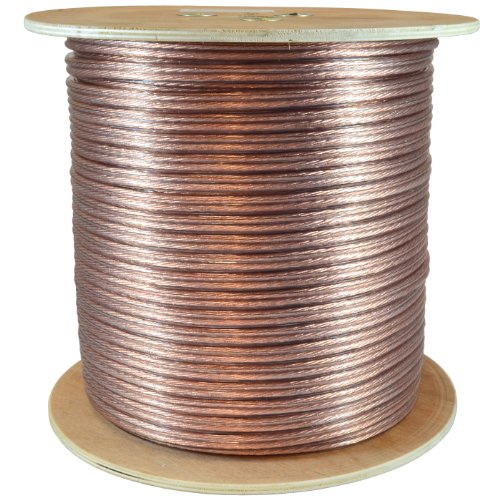 GLS Audio Premium 12 Gauge 500 Feet Speaker Wire - True 12AWG Speaker Cable 500ft Clear Jacket 500' Spool Roll 12G 12/2 Bulk