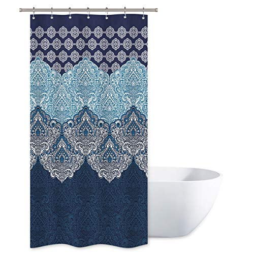 Riyidecor Boho Paisley Shower Curtain Set 36x72 Inch Floral India Bohemia Dark Navy Bathroom Decor Fabric Panel Polyester Waterproof with 7-Pack Plastic Shower Hooks