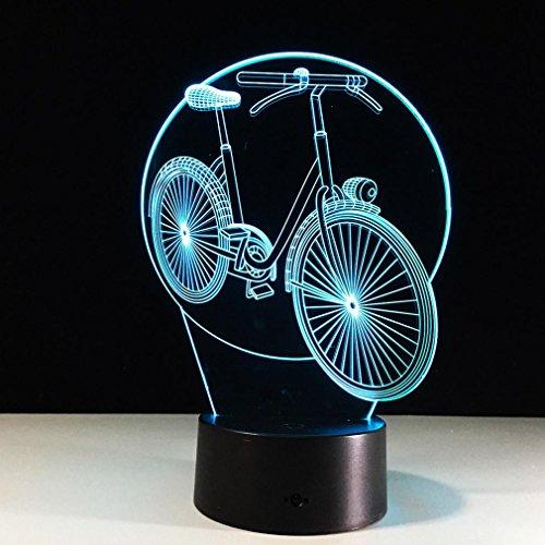 GZXCPC VéLo 3D Optique Illusion Lampe Couleur Tactile ABS Base Acrylique Panneau LED Nouveauté éClairage Vacances Cadeau Chambre DéCoration USB Nuit LumièRe
