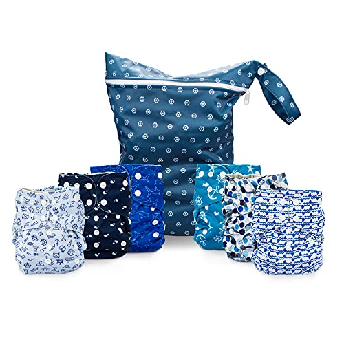 Simple Being Reusable Cloth Diapers, Double Gusset, One Size Adjustable, Washable Soft Absorbent, Waterproof Cover, Eco-Friendly Unisex Baby Girl Boy, six 4-Layers Microfiber Inserts (Under The Sea)