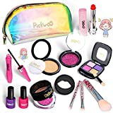 Pickwoo Faux Maquillage Enfant Fille - Palette Coffret Malette Maquillage Enfant Fille - Trousse Maquillage Enfant - Jouet Coiffeuse Enfant Fille pour Barbie Princesse Cadeau Filles 4 6 7 8 10 Ans