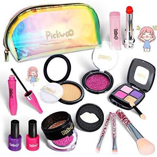 Pickwoo Faux Maquillage Enfant Fille - Palette Coffret Malette Maquillage Enfant Fille - Trousse Maquillage Enfant - Jouet Coiffeuse Enfant Fille pour Barbie Princesse Cadeau Filles 4 6 7 8 10 Ans